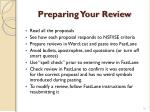 preparing your review