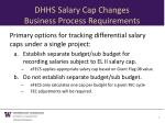 dhhs salary cap changes business process requirements