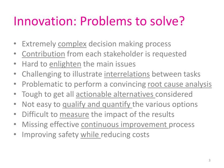 Innovation problems to solve