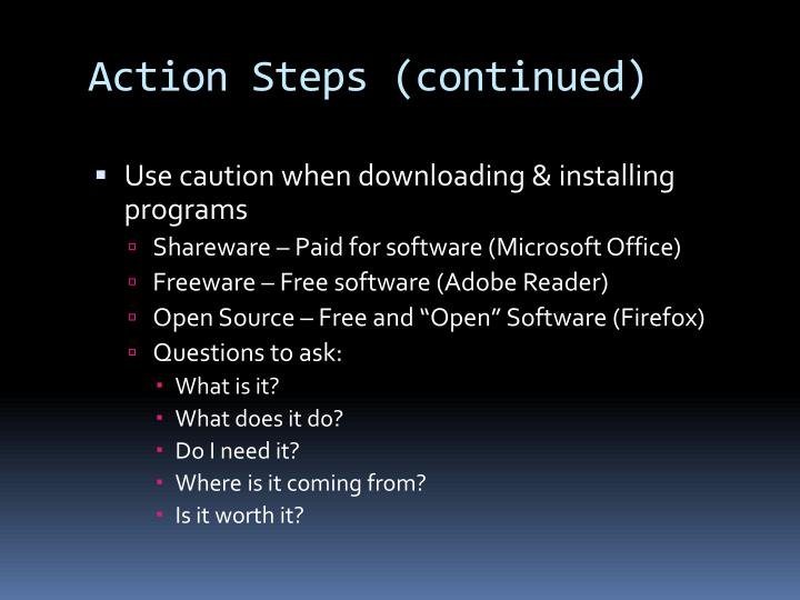 Action Steps (continued)