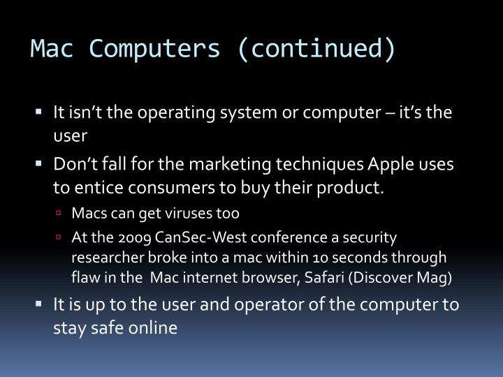 Mac Computers (continued)