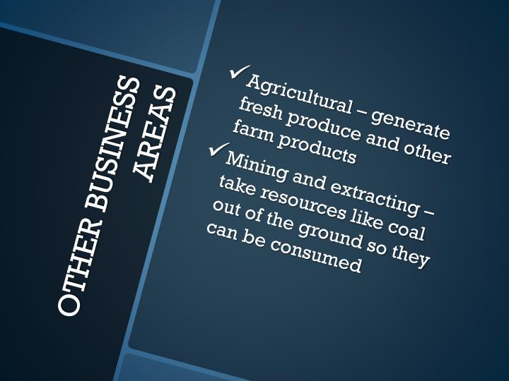 Agricultural – generate fresh produce and other farm products