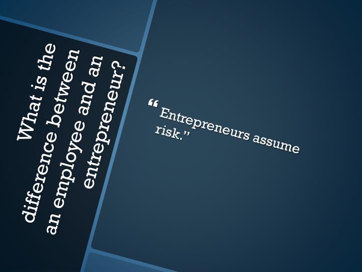 """Entrepreneurs assume risk."""""""