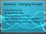 summary changing yourself