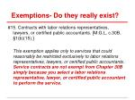 exemptions do they really exist2