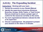 activity the expanding incident