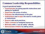 common leadership responsibilities