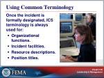 using common terminology