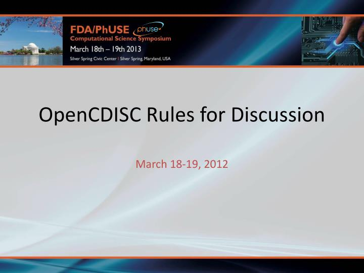 opencdisc rules for discussion n.