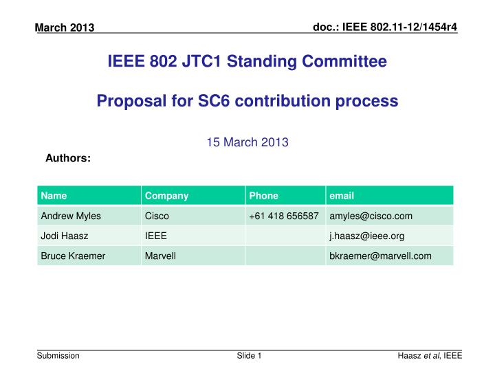 ieee 802 jtc1 standing committee proposal for sc6 contribution process n.