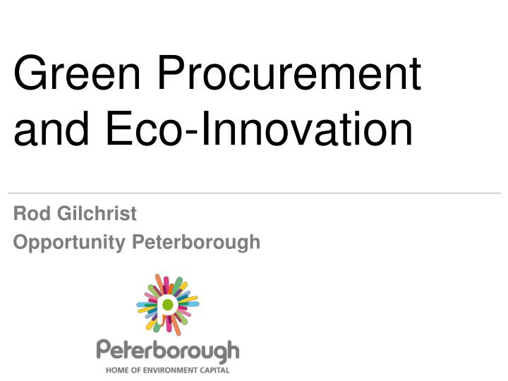 green procurement and eco innovation n.