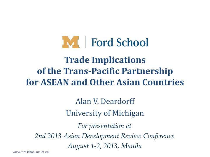 trade implications of the trans pacific partnership for asean and other asian countries n.