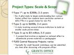 project types scale scope