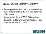 weq electric industry registry