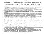 the need for support from national regional and international r4d asareca fao iita ngos