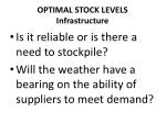 optimal stock levels infrastructure