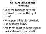 optimal stock levels the finance
