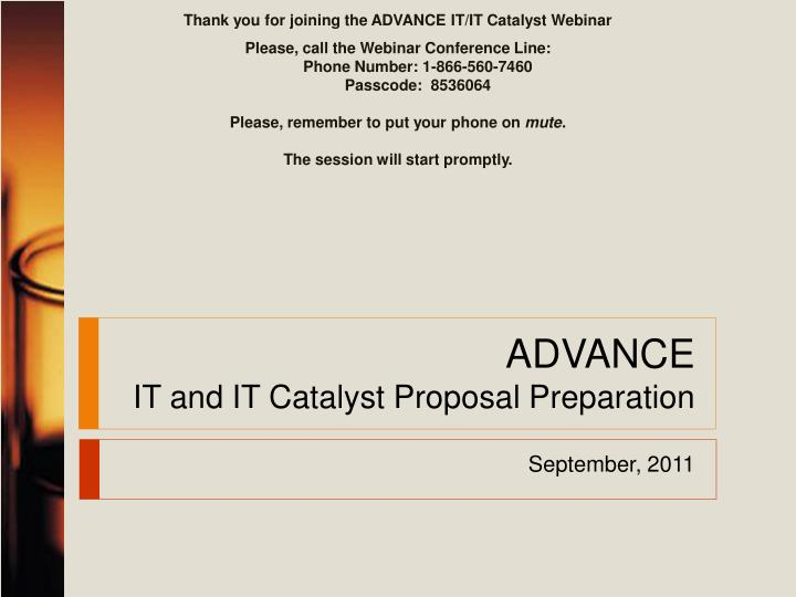 advance it and it catalyst proposal preparation n.