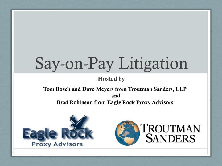 say on pay litigation n.