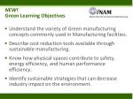 new green learning objectives