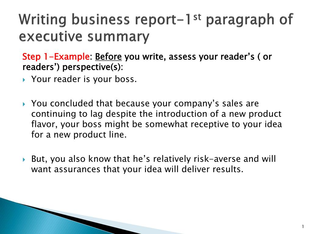 ppt writing business report 1 st paragraph of executive summary