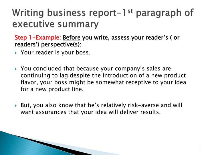 PPT - Writing business report-1 st paragraph of executive