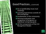 good practices continued