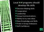 local 4 h programs should develop life skills