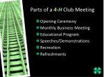 parts of a 4 h club meeting