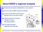 about deed s regional analysts