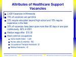 attributes of healthcare support vacancies