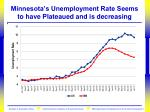 minnesota s unemployment rate seems to have plateaued and is decreasing
