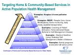 targeting home community based services in active population health management