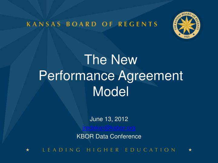 the new performance agreement model n.