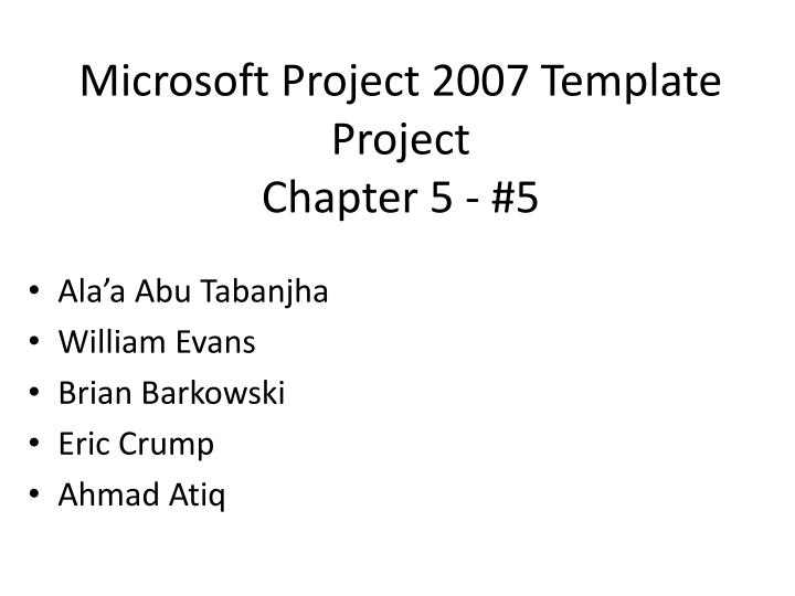 microsoft project 2007 template project chapter 5 5 n.