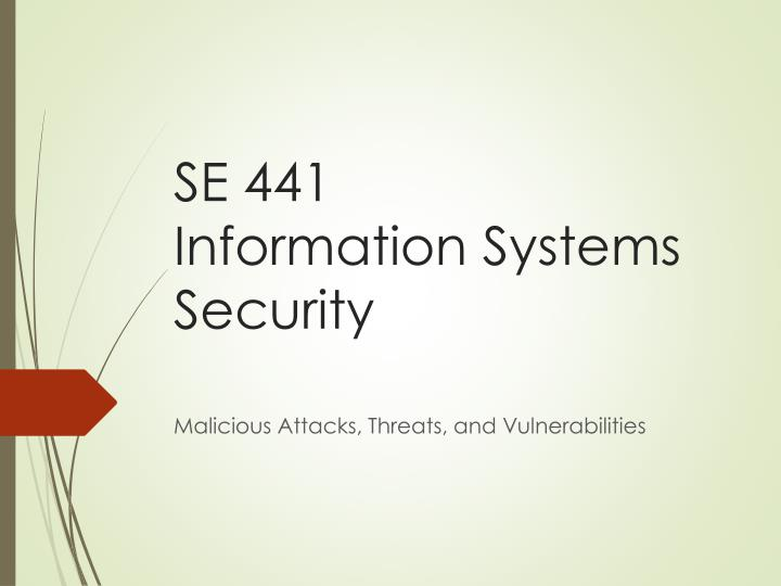 se 441 information systems security n.