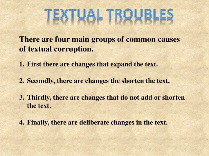 Textual troubles