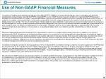 use of non gaap financial measures