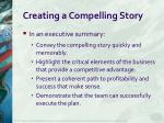 creating a compelling story