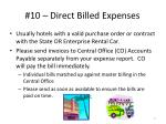 10 direct billed expenses