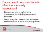 do we need to re vision the role of mothers in family businesses