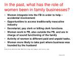 in the past what has the role of women been in family businesses