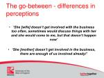 the go between differences in perceptions