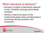 what relevance to advisors