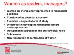women as leaders managers