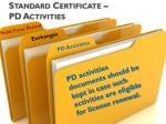 standard certificate pd activities