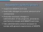 responsible authority powers