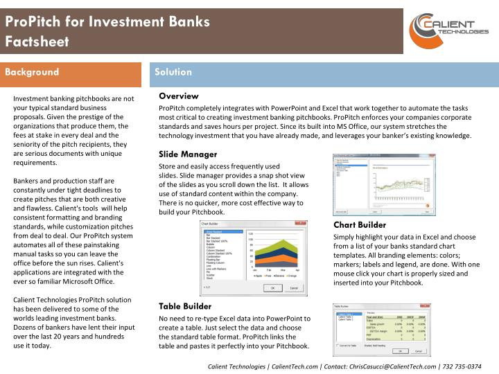 propitch for investment banks factsheet n.