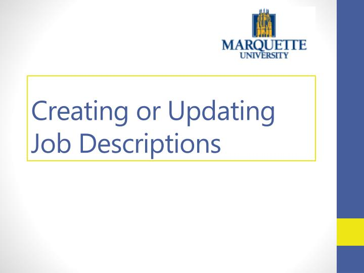creating or updating job descriptions n.
