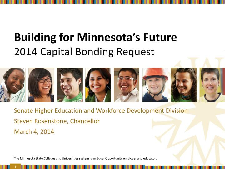 building for minnesota s future 2014 capital bonding request n.